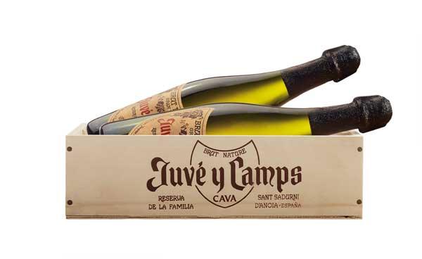 Tecnovino caja de madera Juvé & Camps cava Reserva de la Familia