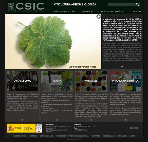 Tecnovino coleccion de variedades de vid CSIC web