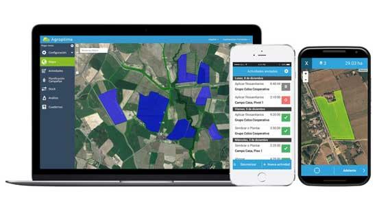 Tecnovino app de Agroptima mapas GPS parcela