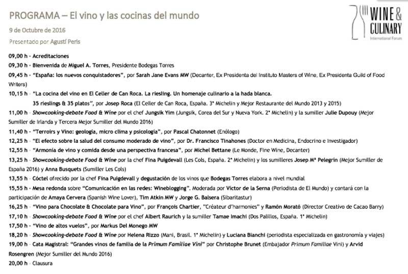 Tecnovino Wine Culinary International Forum programa