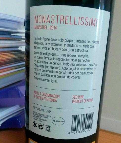 Tecnovino vino de los leperos vampiro Monastrellisimo