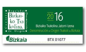 Tecnovino contraetiqueta Bizkaiko Txakolina 280