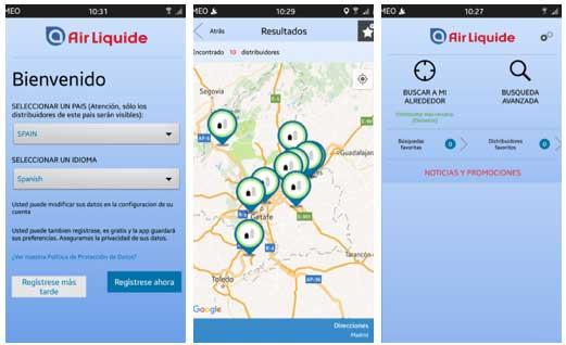 Tecnovino Air Liquide app distribuidores