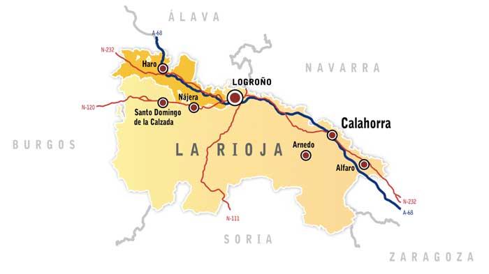 Tecnovino Ruta del Vino de Rioja Alta mapa