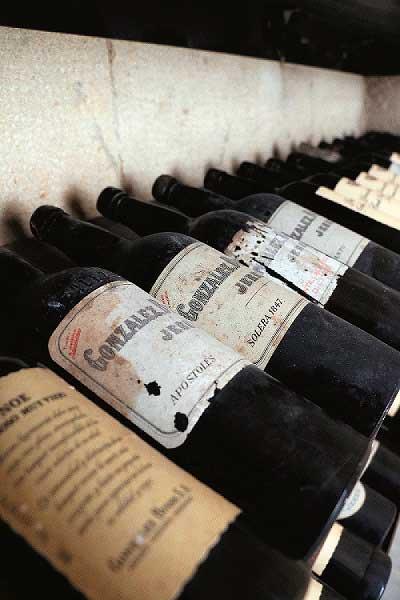 Tecnovino botellero historico de Gonzalez Byass botellas