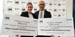 Josep Pelegrín y Audrey Doré, ganadores de la semifinal extraordinaria del concurso 'Mejor Sumiller Internacional en Cava'