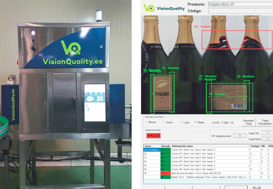 Tecnovino inspeccion de envases vino cava VisionQuality 2
