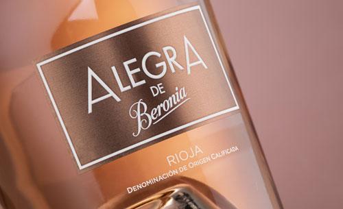 Tecnovino vino rosado Alegra de Bodegas Beronia etiqueta detalle