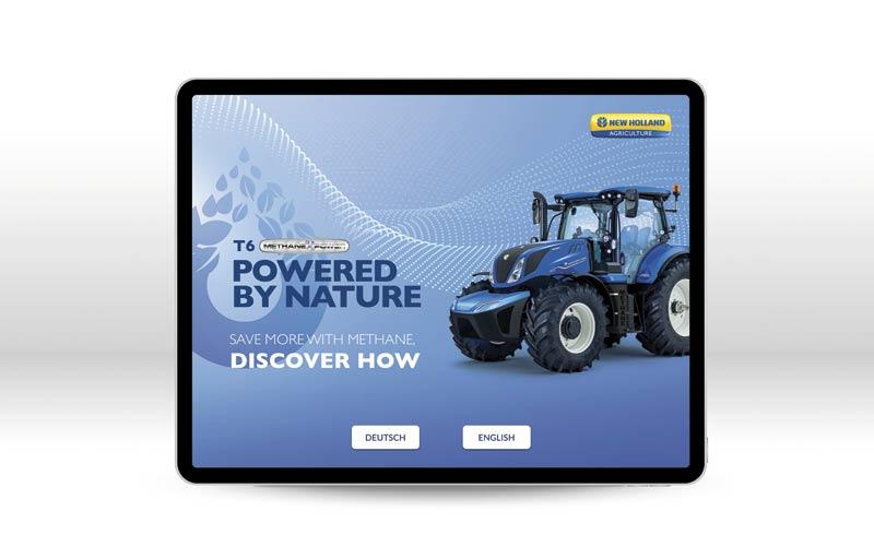 Tecnovino tractor a metano de New Holland pantalla