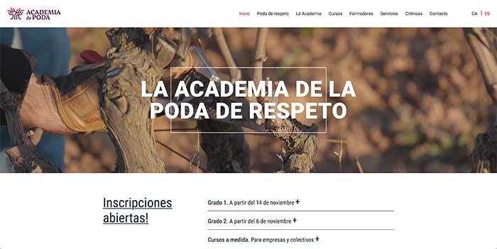 Tecnovino poda de respeto de vina La Academia de Poda web