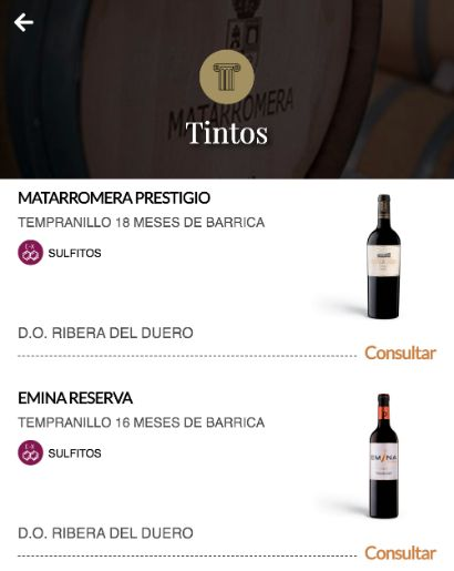 Tecnovino Matarromera cartas de vino digitales
