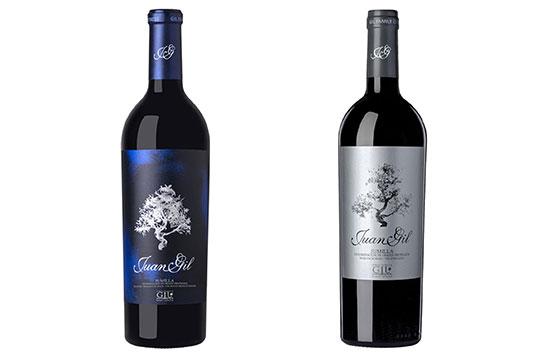 Tecnovino vinos de Juan Gil etiqueta azul plata detalle