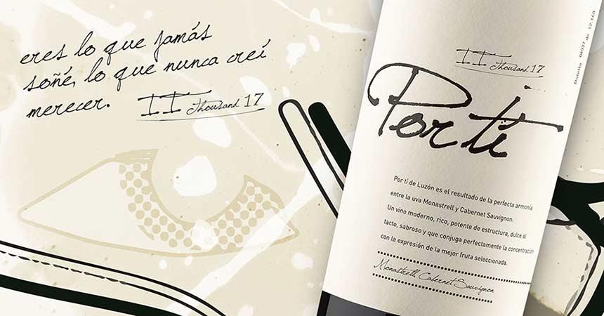 Tecnovino vino Por ti 2017 Bodegas Luzón etiqueta