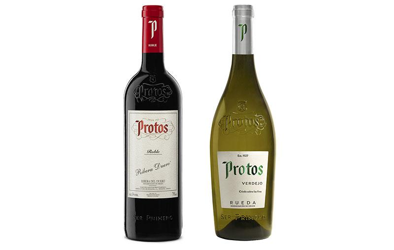Tecnovino vinos jóvenes Bodegas Protos botellas detalle